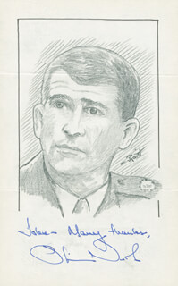 Autographs: LT. COLONEL OLIVER L. NORTH - INSCRIBED ORIGINAL ART SIGNED CO-SIGNED BY: JOHN RAITT