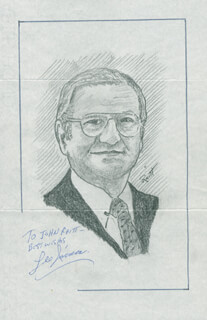 Autographs: LEE IACOCCA - INSCRIBED ORIGINAL ART SIGNED CO-SIGNED BY: JOHN RAITT