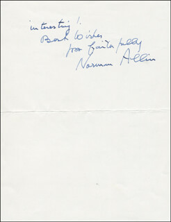 Autographs: NORMAN ALLIN - AUTOGRAPH LETTER SIGNED 11/09