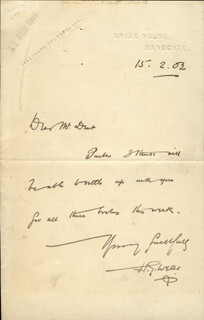 H. G. WELLS - AUTOGRAPH LETTER SIGNED 02/15/1903