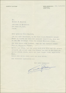 CURTH FLATOW - TYPED LETTER SIGNED 08/03/1953