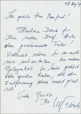 ULF FUERST - AUTOGRAPH LETTER SIGNED 08/17/1967