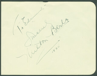 MILTON BERLE - INSCRIBED SIGNATURE 1934 CO-SIGNED BY: GEORGE JESSEL