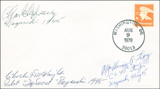 Autographs: BOCKSCAR CREW (MAJOR GENERAL CHARLES W. SWEENEY) - ENVELOPE SIGNED CO-SIGNED BY: BRIGADIER GENERAL HARRISON R. THYNG, CAPTAIN CHARLES F. MCKNIGHT
