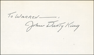 JOHN DUSTY KING - INSCRIBED SIGNATURE