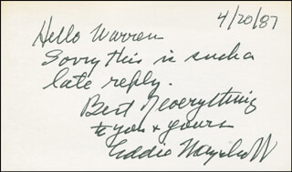 EDDIE MAYEHOFF - AUTOGRAPH NOTE SIGNED 04/20/1987