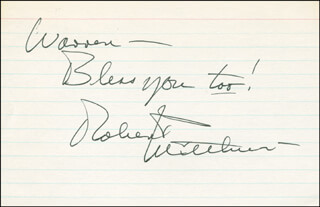 ROBERT MITCHUM - AUTOGRAPH NOTE SIGNED