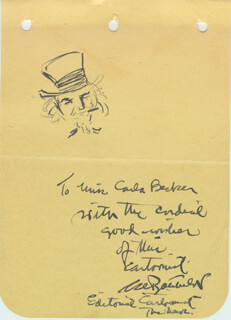 Autographs: CLARENCE D. BATCHELOR - INSCRIBED CARTOON SIGNED CIRCA 1941