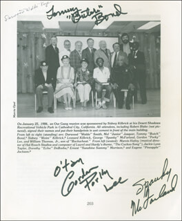 OUR GANG TV CAST - INSCRIBED BOOK SIGNED CO-SIGNED BY: DARWOOD WALDO KAYE, GORDON PORKY LEE, TOMMY BUTCH BOND, CLINT WALKER, SPANKY McFARLAND, SIDNEY KIBRICK, DELMAR WATSON, MILDRED KORNMAN, DOROTHY DEBORBA
