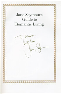 JANE SEYMOUR - INSCRIBED BOOK SIGNED