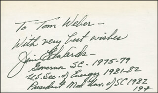 GOVERNOR JAMES B. EDWARDS - AUTOGRAPH NOTE SIGNED