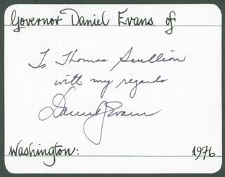Autographs: GOVERNOR DANIEL J. EVANS - AUTOGRAPH NOTE SIGNED