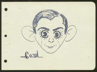 Autographs: ALEX GARD - SELF-CARICATURE SIGNED CIRCA 1938
