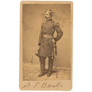 Autographs: MAJOR GENERAL NATHANIEL P. BANKS - PHOTOGRAPH MOUNT SIGNED
