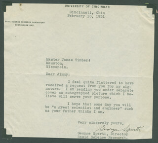 GEORGE SPERTI - TYPED LETTER SIGNED 02/10/1931
