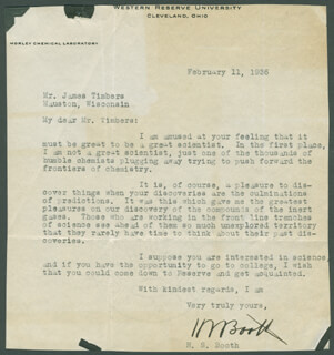 HAROLD SIMMONS BOOTH - TYPED LETTER SIGNED 02/11/1936