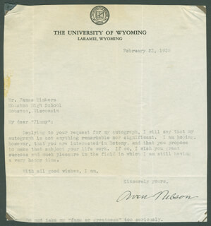 AVEN NELSON - TYPED LETTER SIGNED 02/23/1935