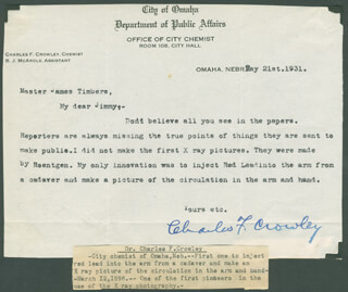 CHARLES F. CROWLEY - TYPED LETTER SIGNED 05/21/1931