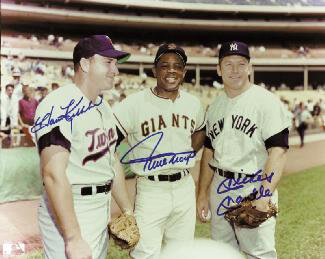 MICKEY MANTLE - AUTOGRAPHED SIGNED PHOTOGRAPH CO-SIGNED BY: HARMON KILLEBREW, WILLIE SAY HEY KID MAYS