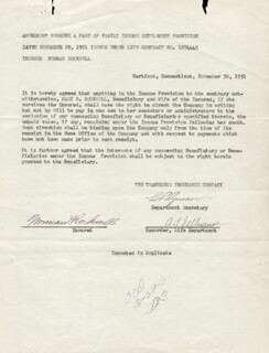 NORMAN ROCKWELL - DOCUMENT SIGNED 11/30/1951