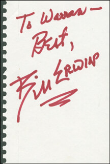 BILL ERWIN - AUTOGRAPH NOTE SIGNED