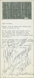 WELCOME BACK, KOTTER TV CAST - TYPED LETTER SIGNED CIRCA 1977 CO-SIGNED BY: GABE KAPLAN, ROBERT HEGYES, JOHN TRAVOLTA, MARCIA STRASSMAN, LAWRENCE HILTON-JACOBS, RON PALILLO, JOHN SYLVESTER WHITE