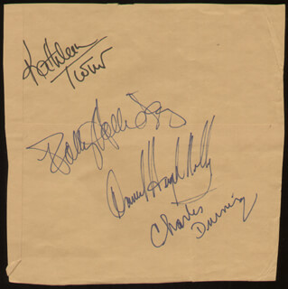 CAT ON A HOT TIN ROOF PLAY CAST - AUTOGRAPH CO-SIGNED BY: DANIEL HUGH KELLY, CHARLES DURNING, KATHLEEN TURNER, POLLY HOLLIDAY