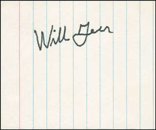 WILL A. GEER - AUTOGRAPH