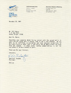 Autographs: MAJOR DONALD DEKE SLAYTON - TYPED LETTER SIGNED 12/22/1987