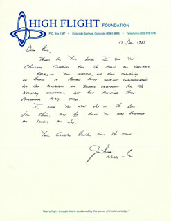 COLONEL JAMES B. JIM IRWIN - AUTOGRAPH LETTER SIGNED 12/17/1987