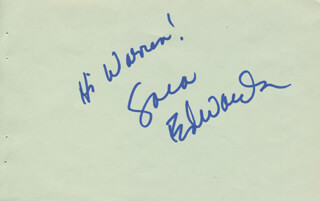 SARA EDWARDS - AUTOGRAPH NOTE SIGNED