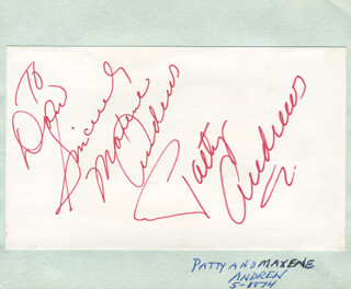 MAXENE ANDREWS - AUTOGRAPH NOTE SIGNED
