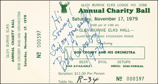 BOB (GEORGE ROBERT) CROSBY - AUTOGRAPH NOTE SIGNED 1979