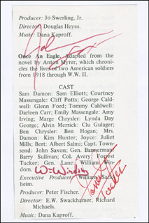 ONCE AN EAGLE MOVIE CAST - BOOK PAGE SIGNED CO-SIGNED BY: JOHN SAXON, FORREST TUCKER, WILLIAM WINDOM
