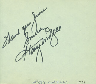 HARRY VON ZELL - AUTOGRAPH NOTE SIGNED CIRCA 1972 CO-SIGNED BY: JANE POWELL