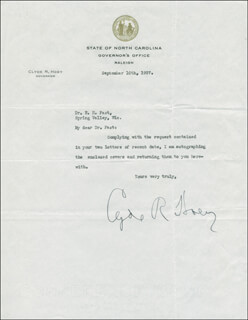 CLYDE R. HOEY - TYPED LETTER SIGNED 09/10/1937