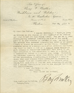MAJOR GENERAL BENJAMIN F. BUTLER - TYPED LETTER SIGNED 05/16/1885