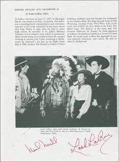 SON OF A BAD MAN MOVIE CAST - PROGRAM PAGE SIGNED CO-SIGNED BY: LASH LA RUE, NOEL NEILL