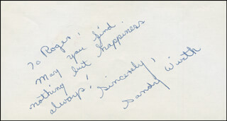 SANDY WIRTH - AUTOGRAPH NOTE SIGNED