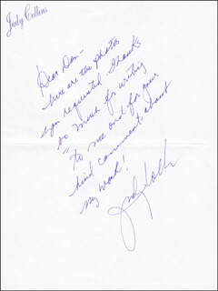JUDY COLLINS - AUTOGRAPH LETTER SIGNED