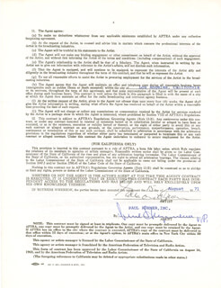 EDMOND O'BRIEN - CONTRACT SIGNED 08/15/1971