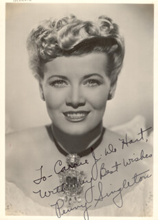 PENNY SINGLETON - AUTOGRAPHED INSCRIBED PHOTOGRAPH