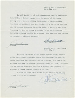 Autographs: HALL BARTLETT - CONTRACT SIGNED 03/11/1954 CO-SIGNED BY: HELEN FERGUSON