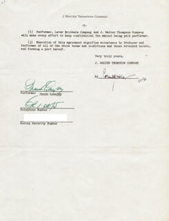 FRANK LOVEJOY - CONTRACT SIGNED 08/24/1953