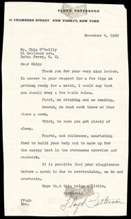 FLOYD PATTERSON - TYPED LETTER SIGNED 11/04/1960