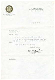 GOVERNOR C. WILLIAM O'NEILL - TYPED LETTER SIGNED 01/31/1958