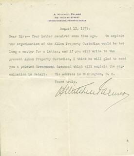 A. MITCHELL PALMER - TYPED LETTER SIGNED 08/13/1929