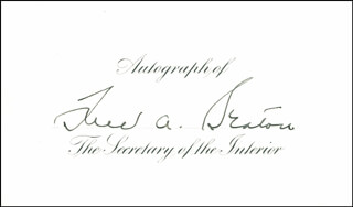 Autographs: FREDERICK A. SEATON - PRINTED CARD SIGNED IN INK