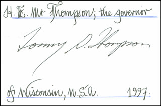 Autographs: TOMMY G. THOMPSON - SIGNATURE(S)