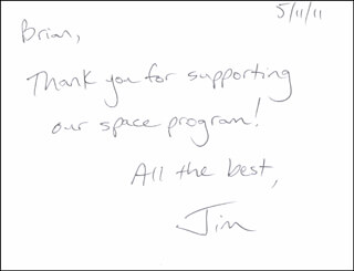 COLONEL JAMES P. JIM DUTTON JR. - AUTOGRAPH NOTE SIGNED 05/11/2011